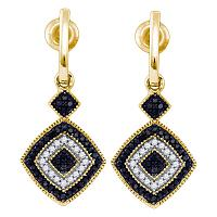 10kt Yellow Gold Womens Round Black Color Enhanced Diamond Concentric Square Dangle Earrings 1/3 Cttw