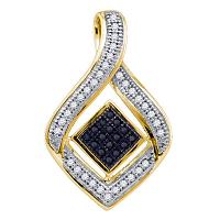 10kt Yellow Gold Womens Round Black Color Enhanced Diamond Diagonal Square Teardrop Frame Pendant 1/6 Cttw