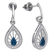 10kt White Gold Womens Round Blue Color Enhanced Diamond Teardrop Screwback Earrings 1/4 Cttw
