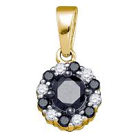 10kt Yellow Gold Womens Round Black Color Enhanced Diamond Cluster Pendant 1/2 Cttw