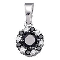 10kt White Gold Womens Round Black Color Enhanced Diamond Cluster Pendant 1/2 Cttw