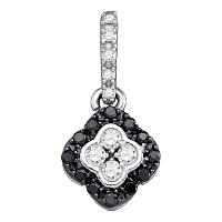 10kt White Gold Womens Round Black Color Enhanced Diamond Quatrefoil Cluster Pendant 1/3 Cttw