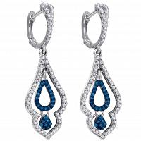 10kt White Gold Womens Round Blue Color Enhanced Diamond Spade Dangle Earrings 1/2 Cttw