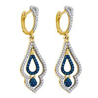 10kt Yellow Gold Womens Round Blue Color Enhanced Diamond Spade Dangle Earrings 1/2 Cttw