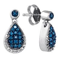 10kt White Gold Womens Round Blue Color Enhanced Diamond Teardrop Dangle Earrings 1/4 Cttw