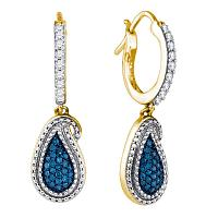 10kt Yellow Gold Womens Round Blue Color Enhanced Diamond Teardrop Cluster Dangle Earrings 1/2 Cttw