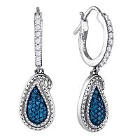 10kt White Gold Womens Round Blue Color Enhanced Diamond Teardrop Cluster Dangle Earrings 1/2 Cttw