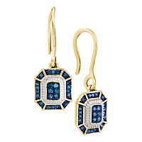 10kt Yellow Gold Womens Round Blue Color Enhanced Diamond Square Dangle Wire Earrings 1/5 Cttw