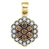 10kt Yellow Gold Womens Round Cognac-brown Color Enhanced Diamond Hexagon Flower Cluster Pendant 3/8 Cttw