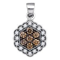 10kt White Gold Womens Round Cognac-brown Color Enhanced Diamond Hexagon Flower Cluster Pendant 3/8 Cttw