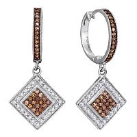 10kt White Gold Womens Round Cognac-brown Color Enhanced Diamond Diagonal Square Dangle Earrings 1/2 Cttw
