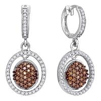 10kt White Gold Womens Round Cognac-brown Color Enhanced Diamond Oval Frame Dangle Earrings 3/4 Cttw