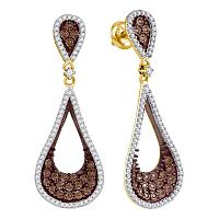 10kt Yellow Gold Womens Round Cognac-brown Color Enhanced Diamond Teardrop Dangle Earrings 1.00 Cttw