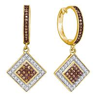 10kt Yellow Gold Womens Round Cognac-brown Color Enhanced Diamond Diagonal Square Dangle Earrings 1/2 Cttw