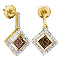 10kt Yellow Gold Womens Round Cognac-brown Color Enhanced Diamond Square Dangle Earrings 1/2 Cttw