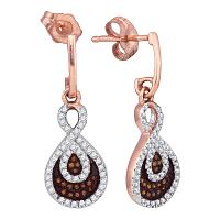 10kt Rose Gold Womens Round Red Color Enhanced Diamond Teardrop Dangle Earrings 3/8 Cttw