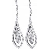14kt White Gold Womens Round Diamond Oblong Oval Dangle Earrings 1-1/3 Cttw