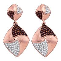 10kt Rose Gold Womens Round Red Color Enhanced Diamond Square Dangle Earrings 1/3 Cttw