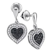 10kt White Gold Womens Round Black Color Enhanced Diamond Heart Frame Dangle Earrings 1/2 Cttw