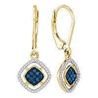 10kt Yellow Gold Womens Round Blue Color Enhanced Diamond Dangle Earrings 1/3 Cttw