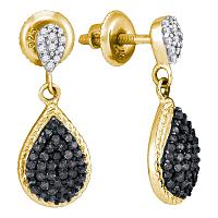 10kt Yellow Gold Womens Round Black Color Enhanced Diamond Teardrop Cluster Dangle Earrings 1/2 Cttw