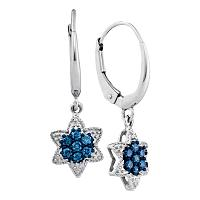 10kt White Gold Womens Round Blue Color Enhanced Diamond Star Cluster Dangle Earrings 1/4 Cttw