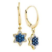 10kt Yellow Gold Womens Round Blue Color Enhanced Diamond Star Cluster Dangle Earrings 1/4 Cttw