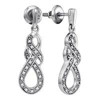 Sterling Silver Womens Round Diamond Infinity Dangle Screwback Earrings 1/8 Cttw
