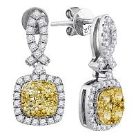 14kt White Gold Womens Round Yellow Diamond Square Frame Cluster Dangle Earrings 1-1/3 Cttw