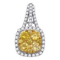 14kt White Gold Womens Round Yellow Diamond Square Frame Cluster Pendant 2.00 Cttw