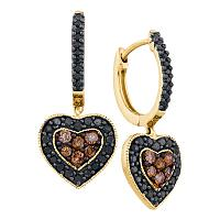 14kt Yellow Gold Womens Round Black Color Enhanced Diamond Heart Cluster Earrings 5/8 Cttw