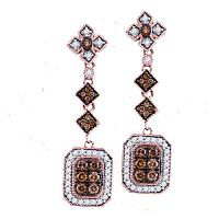 14kt Rose Gold Womens Round Brown Color Enhanced Diamond Dangle Earrings 5/8 Cttw