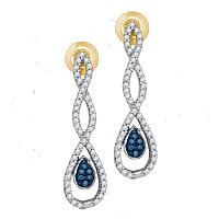 10kt Yellow Gold Womens Round Blue Color Enhanced Diamond Dangle Earrings 1/4 Cttw