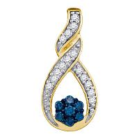 10kt Yellow Gold Womens Round Blue Color Enhanced Diamond Cradled Cluster Pendant 1/4 Cttw