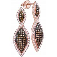 10kt Rose Gold Womens Round Cognac-brown Color Enhanced Diamond Oval Dangle Earrings 1.00 Cttw