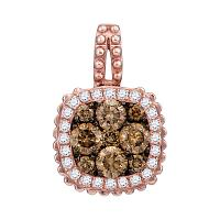 14kt Rose Gold Womens Round Brown Diamond Square Frame Cluster Pendant 1/2 Cttw