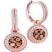 14kt Rose Gold Womens Round Cognac-brown Color Enhanced Diamond Circle Cluster Dangle Earrings 1-1/20 Cttw