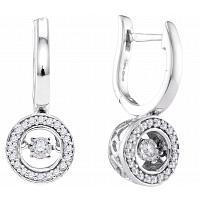 10kt White Gold Womens Round Diamond Moving Twinkle Dangle Earrings 1/3 Cttw