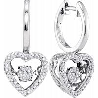 10kt White Gold Womens Round Diamond Heart Moving Twinkle Dangle Earrings 1/4 Cttw