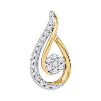 10kt Yellow Gold Womens Round Diamond Teardrop Cluster Pendant 1/4 Cttw
