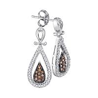 8c425dbf21 10kt White Gold Womens Round Brown Color Enhanced Diamond Teardrop Dangle  Earrings 1/3 Cttw