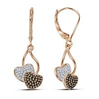10kt Rose Gold Womens Round Red Color Enhanced Diamond Heart Dangle Earrings 1/3 Cttw
