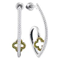 10kt White Gold Womens Round Green Color Enhanced Diamond Quatrefoil Dangle Earrings 1/4 Cttw