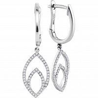 10kt White Gold Womens Round Diamond Double Nested Oval Dangle Earrings 1/4 Cttw