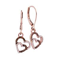 10kt Rose Gold Womens Round Cognac-brown Color Enhanced Double Heart Diamond Dangle Earrings 1/5 Cttw