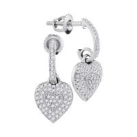 10kt White Gold Womens Round Diamond Heart Love Dangle Earrings 1/3 Cttw