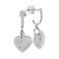 10kt White Gold Womens Round Diamond Milgrain Heart Dangle Screwback Earrings 1/3 Cttw
