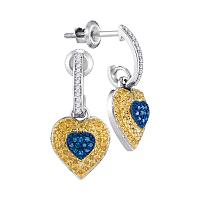 10kt White Gold Womens Round Blue Yellow Color Enhanced Diamond Heart Dangle Earrings 1/3 Cttw