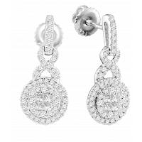 14kt White Gold Womens Princess Round Diamond Soleil Cluster Dangle Earrings 1/2 Cttw