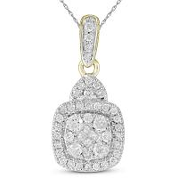 14kt Yellow Gold Womens Princess Round Diamond Square Cluster Pendant 3/8 Cttw